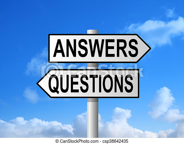 Questions Answers Signpost - csp38642435