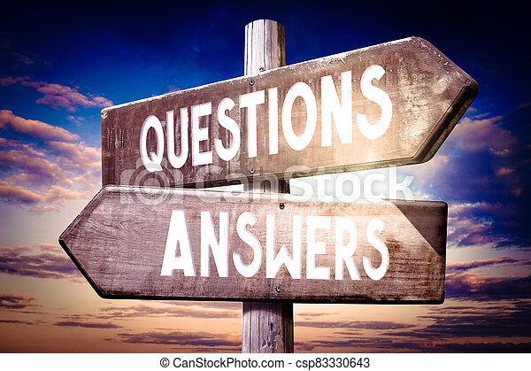 Questions, answers - wooden signpost, roadsign with two arrows - csp83330643
