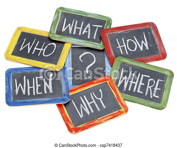questions, brainstorming, decision making - csp7418437