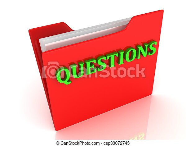 QUESTIONS bright green letters on a red folder - csp33072745