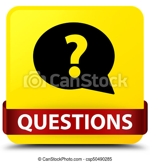 Questions (bubble icon) yellow square button red ribbon in middle - csp50490285