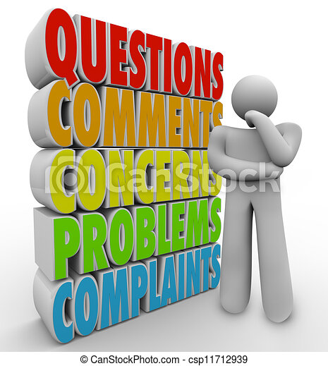 Questions Comments Concerns Thinking Person Words - csp11712939