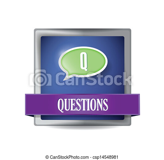 Questions glossy blue button illustration - csp14548981