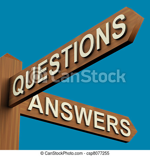 Questions Or Answers Directions On A Signpost - csp8077255