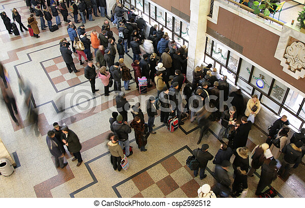 queue in  ticket window top view - csp2592512