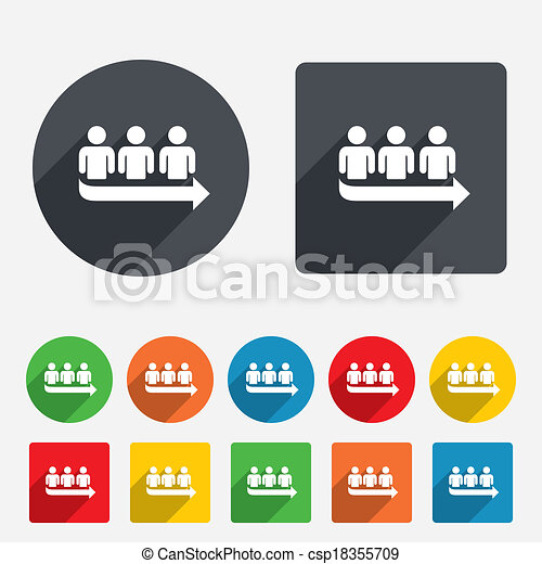 Queue sign icon long turn symbol circles and rounded squares 12 queue sign icon long turn symbol csp18355709 ccuart Images