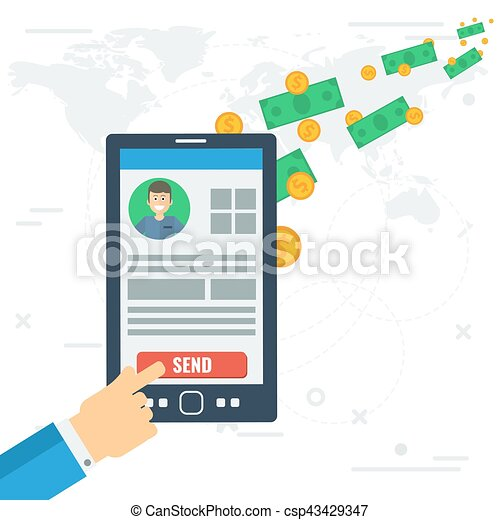 quick money mobile transfer vector concept of quick mobile eps rh canstockphoto com Letter Clip Art Mail Clip Art