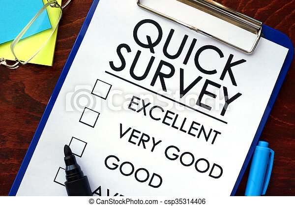 quick survey written in a notebook marketing concept