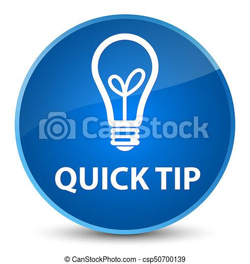 Quick tip (bulb icon) elegant blue round button - csp50700139