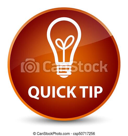 Quick tip (bulb icon) elegant brown round button - csp50717256