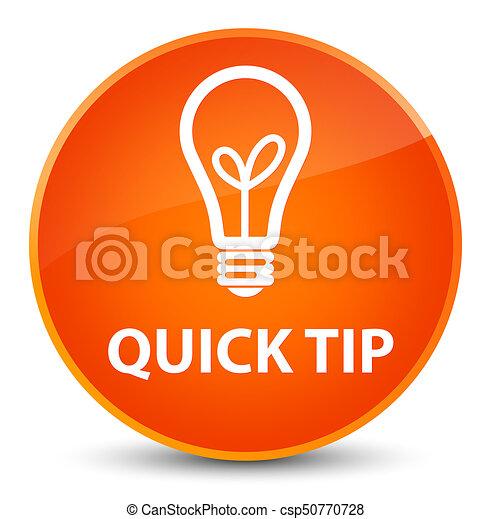 Quick tip (bulb icon) elegant orange round button - csp50770728