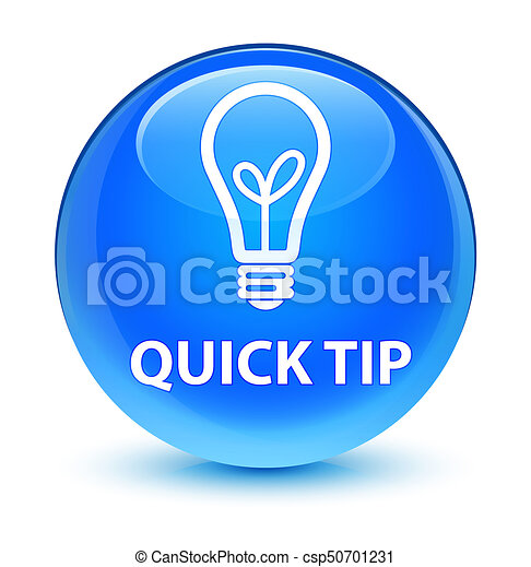 Quick tip (bulb icon) glassy cyan blue round button - csp50701231
