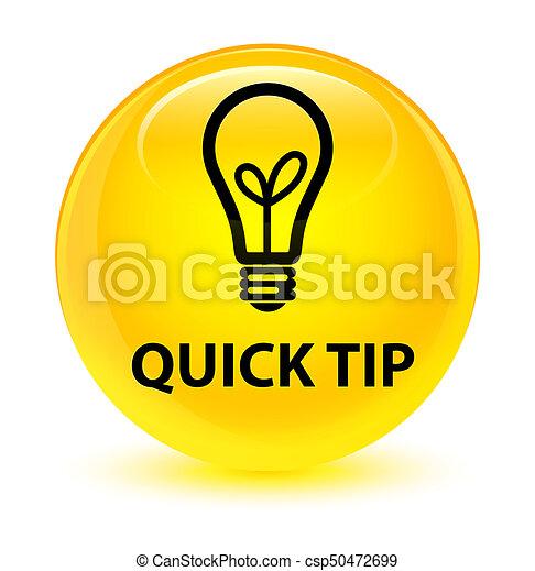 Quick tip (bulb icon) glassy yellow round button - csp50472699