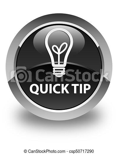 Quick tip (bulb icon) glossy black round button - csp50717290