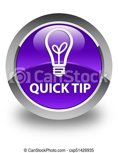 Quick tip (bulb icon) glossy purple round button - csp51426935