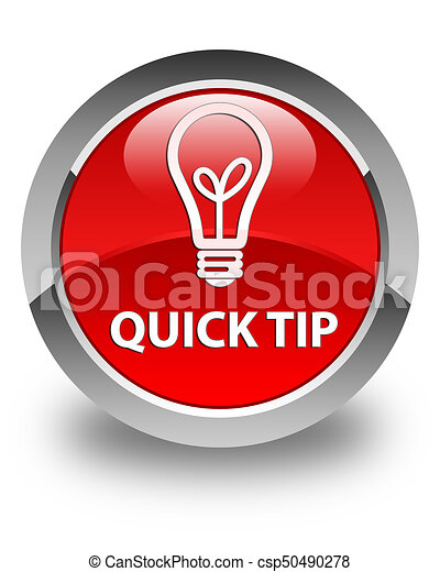 Quick tip (bulb icon) glossy red round button - csp50490278
