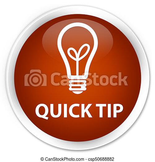 Quick tip (bulb icon) premium brown round button - csp50688882