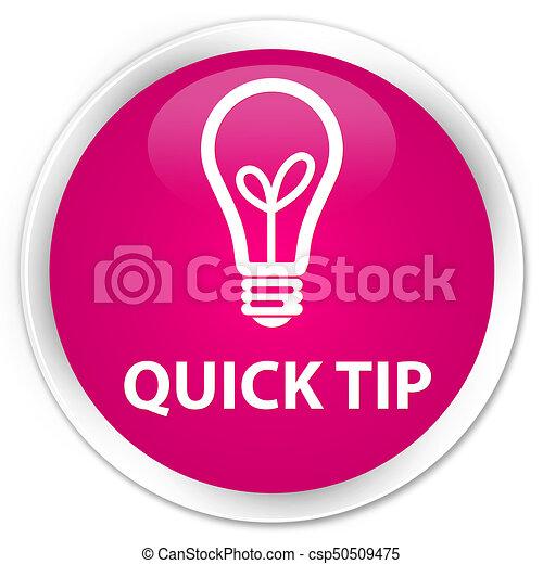 Quick tip (bulb icon) premium pink round button - csp50509475