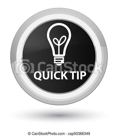 Quick tip (bulb icon) prime black round button - csp50366349