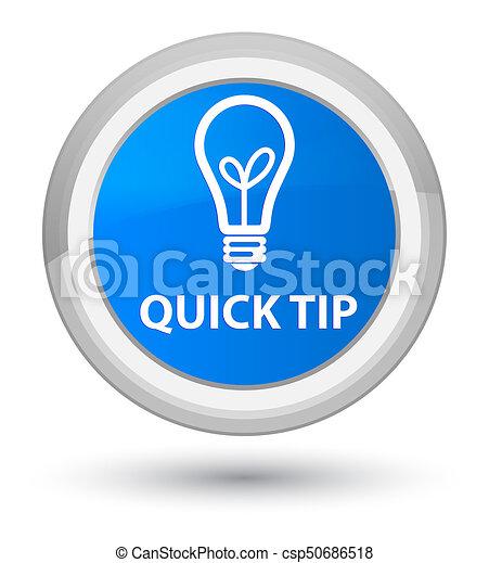 Quick tip (bulb icon) prime cyan blue round button - csp50686518
