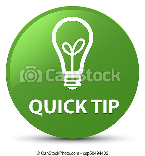 Quick tip (bulb icon) soft green round button - csp50494402
