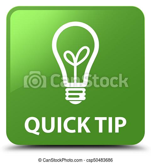 Quick tip (bulb icon) soft green square button - csp50483686
