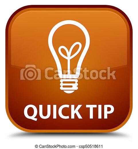 Quick tip (bulb icon) special brown square button - csp50518611