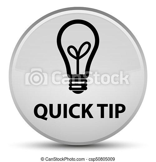 Quick tip (bulb icon) special white round button - csp50805009