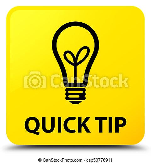 Quick tip (bulb icon) yellow square button - csp50776911