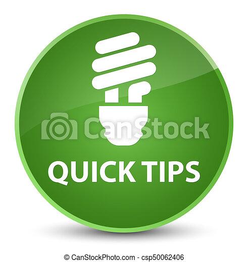 Quick tips (bulb icon) elegant soft green round button - csp50062406