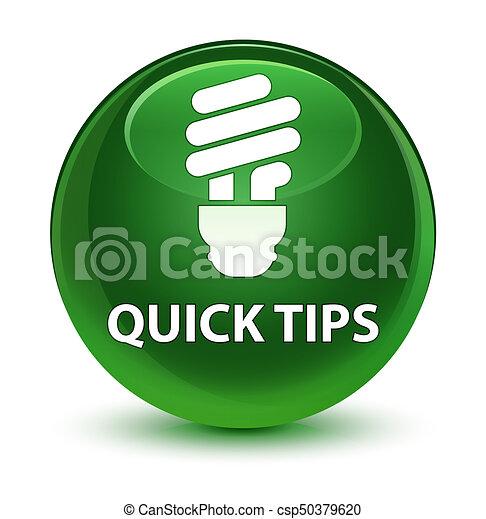 Quick tips (bulb icon) glassy soft green round button - csp50379620