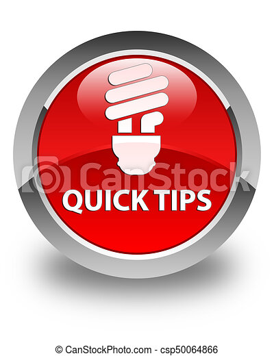 Quick tips (bulb icon) glossy red round button - csp50064866