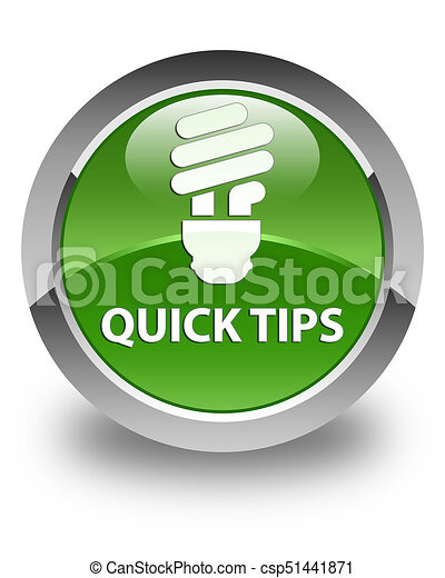 Quick tips (bulb icon) glossy soft green round button - csp51441871