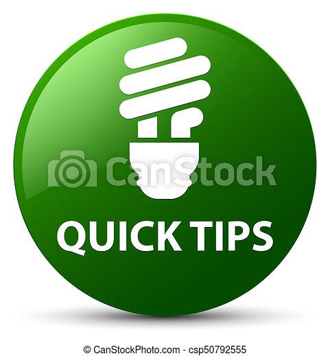 Quick tips (bulb icon) green round button - csp50792555