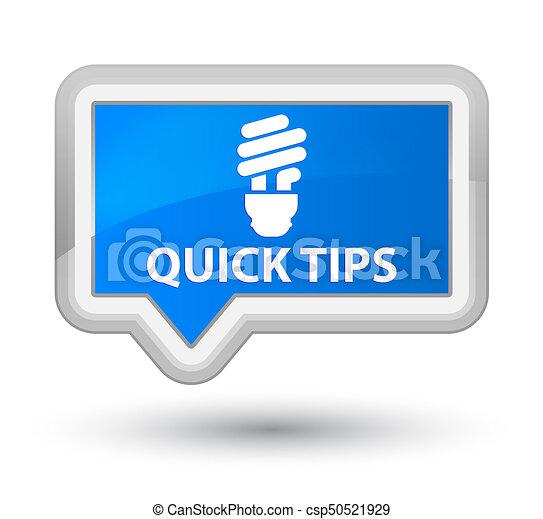 Quick tips (bulb icon) prime cyan blue banner button - csp50521929