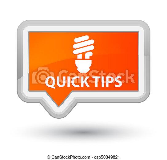 Quick tips (bulb icon) prime orange banner button - csp50349821