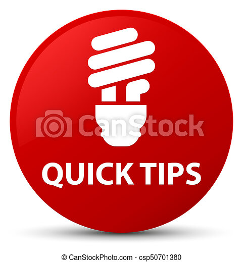Quick tips (bulb icon) red round button - csp50701380