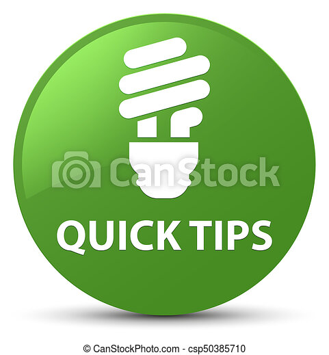 Quick tips (bulb icon) soft green round button - csp50385710