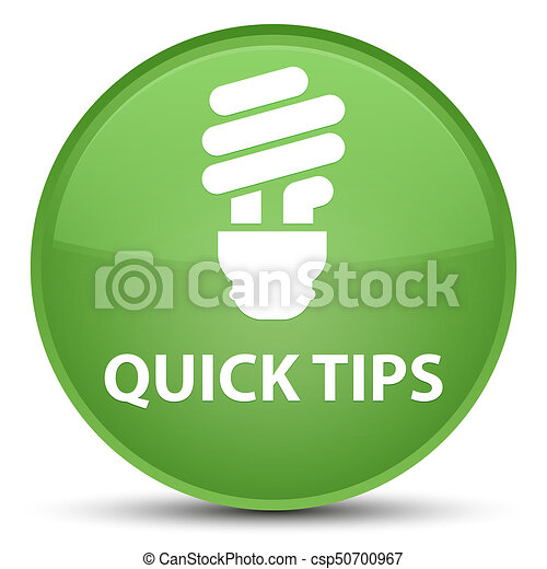 Quick tips (bulb icon) special soft green round button - csp50700967