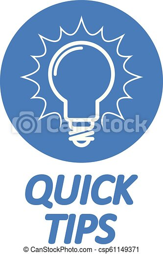 Quick Tips icon - light bulb as tips and tricks symbol - csp61149371