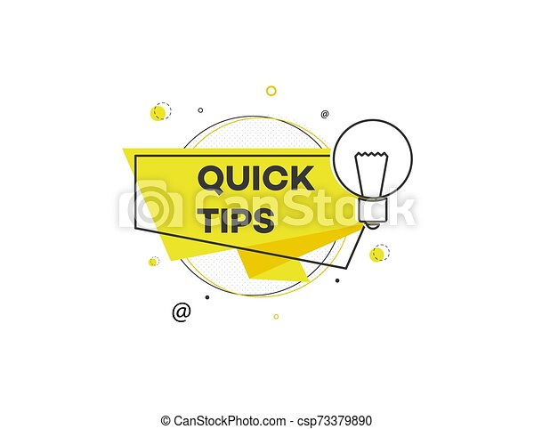 Quick tips - modern geometric sticker icon with light bulb sign - csp73379890