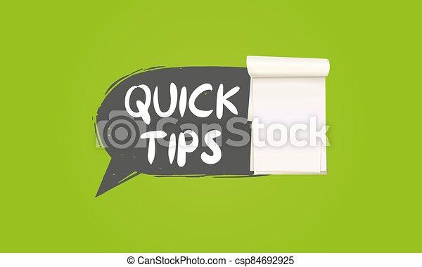 Quick tips Modern helpful tips banner Vector illustration - csp84692925