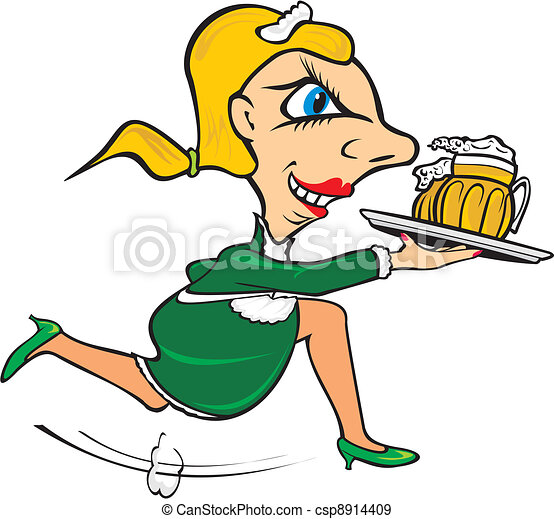 quick waitress serve the beer in the restaurant fast eps rh canstockphoto com waitress clipart png waitress clipart graphics
