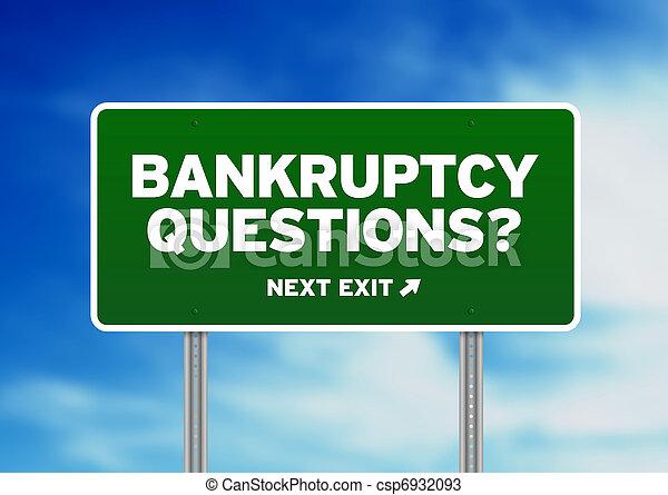 Bancarrota pregunta signo de carretera - csp6932093