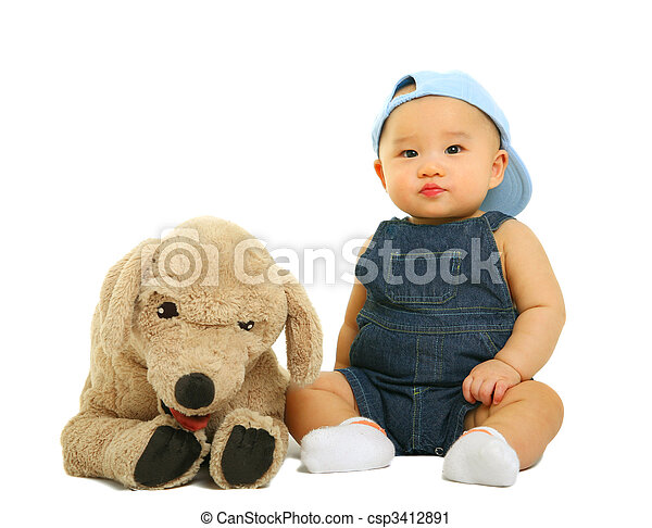 Quiet Baby With His Stuffed Animal - csp3412891