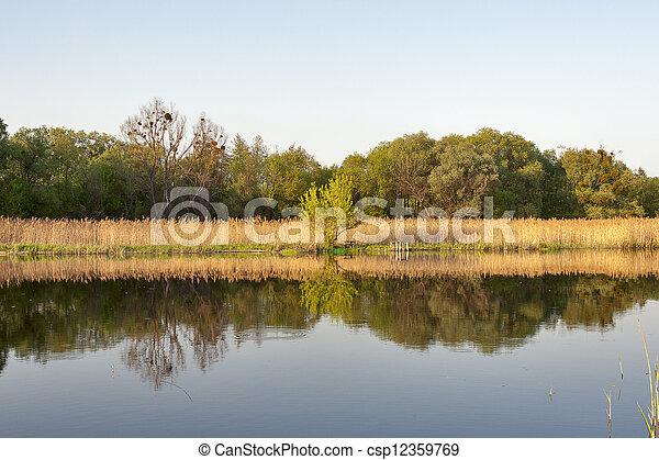 Quiet river Ros in spring - csp12359769