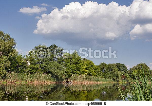 Quiet Ros river in summer, Ukraine - csp46855918
