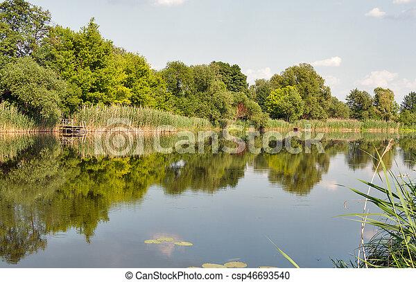 Quiet Ros river in summer, Ukraine - csp46693540