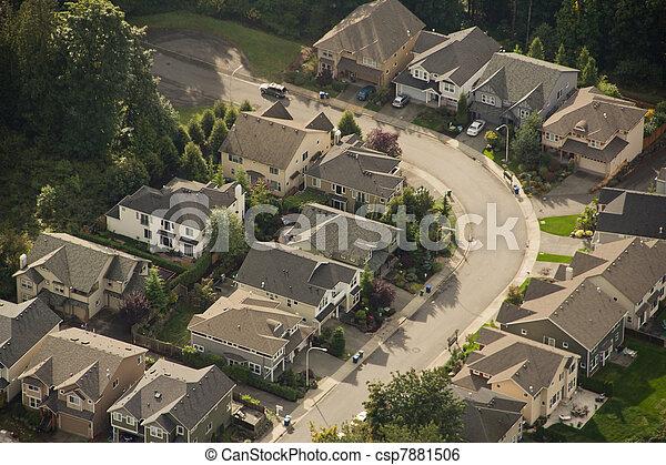 Quiet Street Corner - Aerial - csp7881506