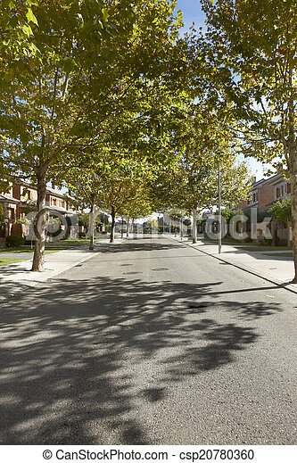Quiet street view in a residential area - csp20780360